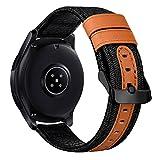 iBazal 22mm Armband Uhrenarmband Stoff Leinen Textil Gewebte Armbänder Ersatz für Samsung Galaxy Watch 46mm,Gear S3 Frontier/S3 Classic,Huawei GT/Honor Magic/2 Classic,Ticwatch Pro/S2/E2 - Schwarz