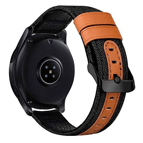 iBazal Correas Galaxy Watch 42mm Lona 20mm Banda Tela Paño Pulseras Compatible con Samsung Galaxy Watch 3 41mm/Galaxy Watch Active 40mm/44mm/Huawei GT 42mm/Watch 2/Gear S2 Classic/Sport Band - Negro