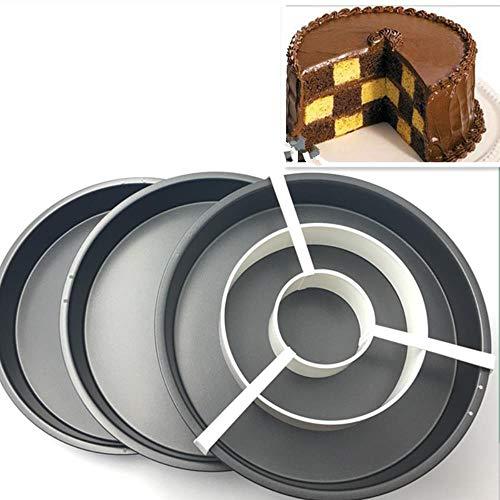 MNHI Schachbrett Kuchenform 3 Antihaft-Backform Zinn Teiler Set DIY Backformen 8 '' Pizza Pfanne