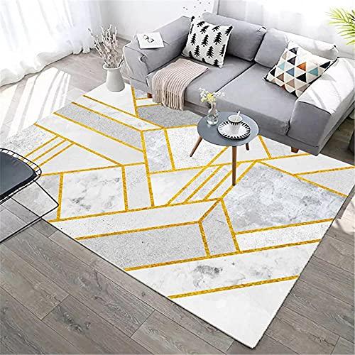 IRCATH Línea de Oro patrón geométrico Simple Moderno Estudio Estudio Interior Mesa de café sofá Corredor Alfombra decorativa-60x90cm Decoración del hogar para salón y Dormitorio
