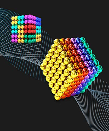 216 PCS Rare Earth M-agnet Balls, AJK 5 MM Rainbow Handicraft Beads for Adults Creative Sculpture Entertainment Tactile Cube Desk Toys Stress Relief (Six Colors