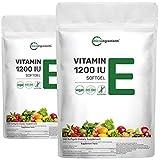 2 Pack Vitamin E 1200IU, 240 Capsules (Liquid Softgels), Mixed D-Alpha Tocopherol Rich in Antioxidant for Healthy Skin, Eyes, Hair and Nails, Non-GMO