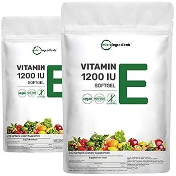2 Pack Vitamin E 1200IU 240 Capsules Liquid Softgels Mixed D-Alpha Tocopherol Rich in Antioxidant for Healthy Skin Eyes Hair and Nails Non-GMO