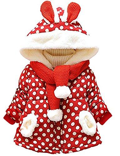 Little Hand Baby-Mädchen Jacke Dot Bedruckt Mantel Born Bekleidung,Rot, EU 80(0-6 Monate)=Tag 6