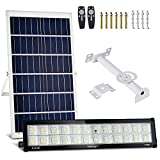 400W Solar Flood Lights Outdoor, 478 LEDs IP66 Waterproof 6000K Dual Remote Control Dusk to Dawn Solar Powered Street Security Wall Floodlights for Yard, Garden, Pathway, Basketball Court, Pathway