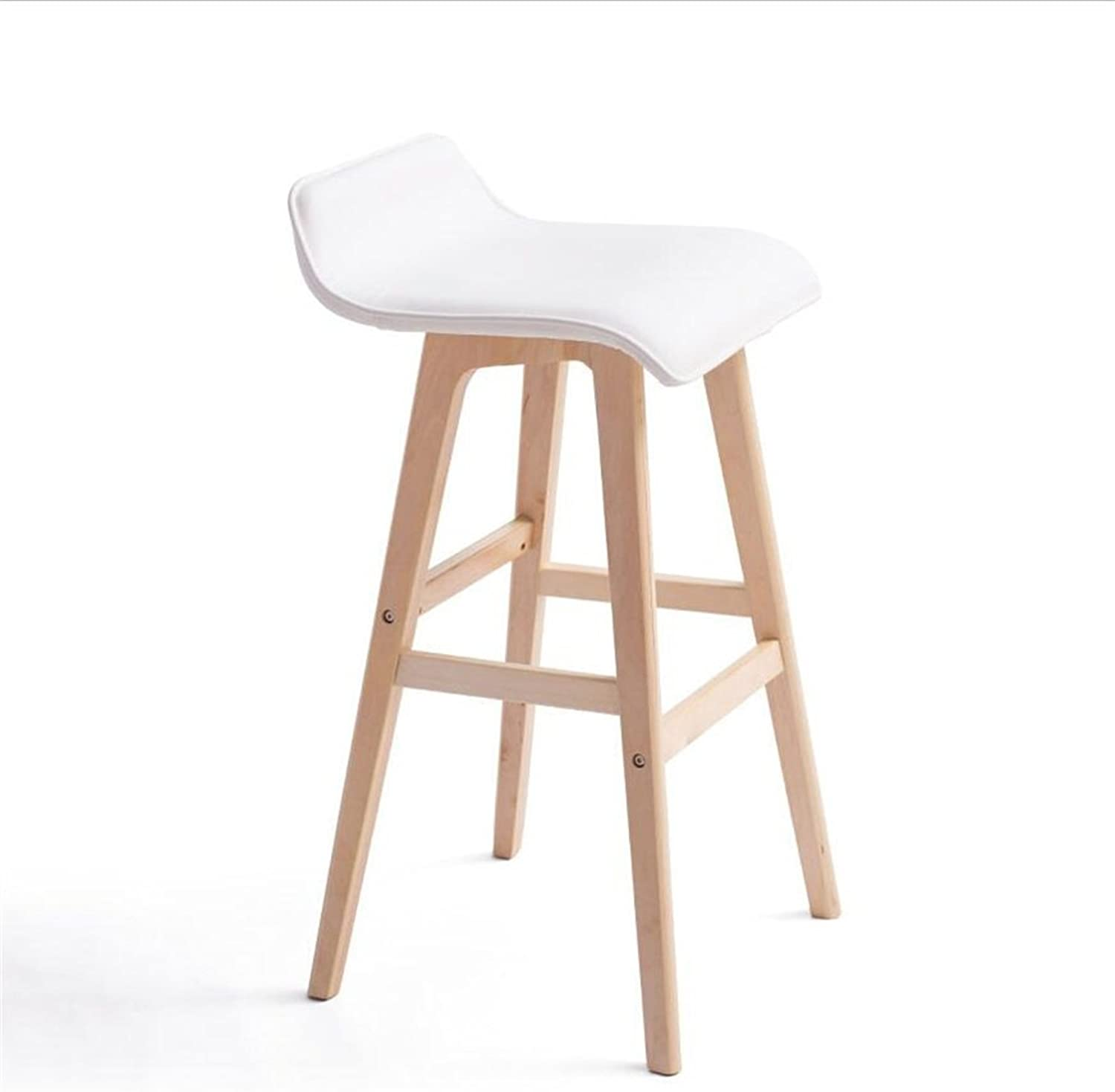 Stools Solid Wood Bar Stools Kitchen Breakfast Dining Chair High Stool with White PU Fabric Seat Barstool Suitable for Family and Business (color   B, Size   40cm40cm65cm)