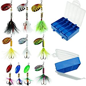 FOUCECLAUS Fishing Lures 10pcs Spinner Lures Baits with Tackle Box, Bass Trout Salmon Hard Metal Rooster Tail Fishing Lures Kit
