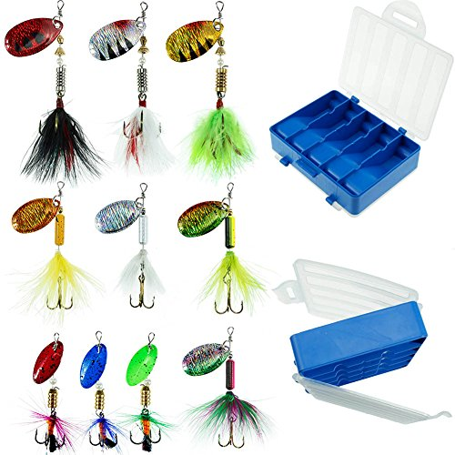 Fishing Lures 10pcs Spinner Lures Baits with Tackle Box, Bass Trout Salmon Hard Metal Rooster Tail Fishing Lures Kit by FouceClaus