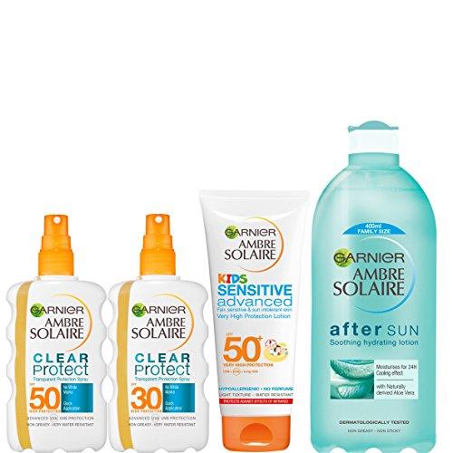 Kit Multipack de Crema Solar y Aftersun Ambre Solaire para niños y adultos SPF 30 y SPF 50 (4 piezas)