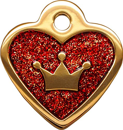 Gold Red Glita Heart Small Personalized Pet Tags Dogs & Cats ID Custom Engraved Back