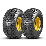 2 Pcs Lawn Mower Tires 15x6.00-6 with Wheel for Riding Mowers, 3' Centered Hub Long with 3/4' precision ball bearings(WILL NOT FIT ON TRAILERS)