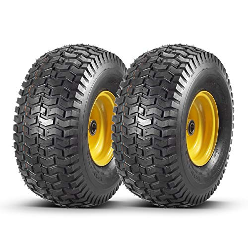 "2 Pcs Lawn Mower Tires 15x6.00-6 with Wheel for Riding Mowers, 3"" Centered Hub Long with 3/4"" precision ball bearings(WILL NOT FIT ON TRAILERS)"