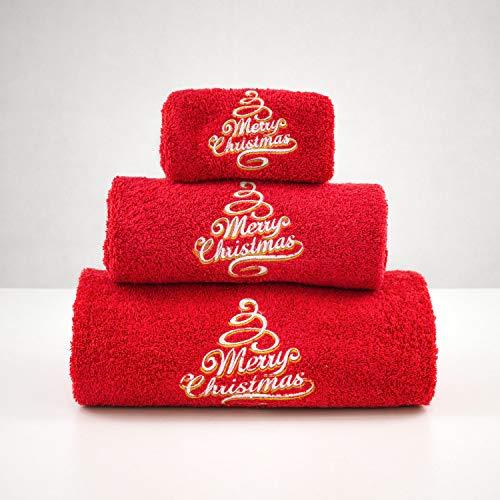 BgEUROPE - Set di 3 asciugamani da bagno ricamati, colore: rosso