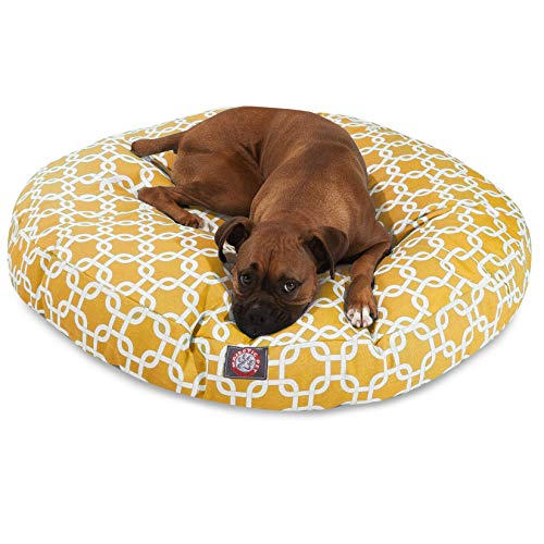 Yellow Links Large Round Indoor/Outdoor Pet Dog Bed With Removable Washable Cover