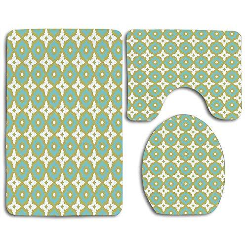 Juego de alfombras de baño Azulejo de cerámica Azulejo de cerámica en tonos pastel Azulejo de cerámica adornado Mosaico árabe adornado Alfombra de baño lavable + Alfombra de contorno + Cubierta de asi