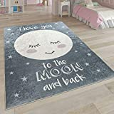 Paco Home Kinderteppich, Waschbarer Kinderzimmer Teppich m. Stern, Mond u. Karo Motiven, Grösse:140x200 cm, Farbe:Grau 2
