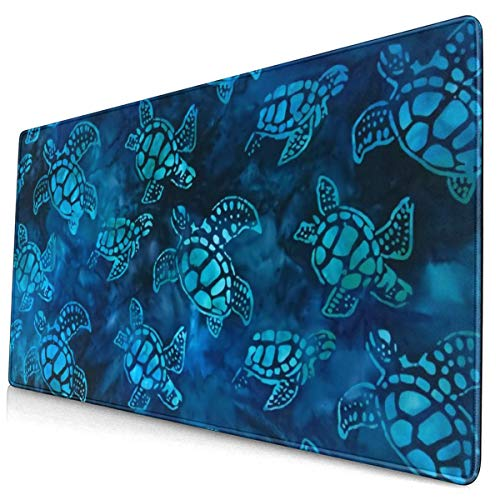 Watercolor Blue Sea Turtle Extended Gaming Mouse Pad with Stitched Edges Large Mousepad with Premium Textured Cloth Non-Slip Rubber Base Keyboard Pad Desk Mat for Gamer Office Home