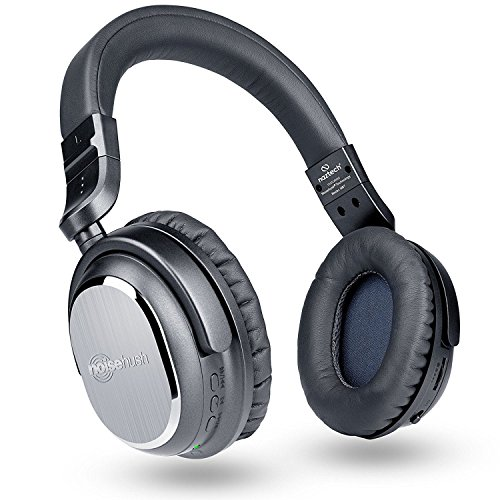 Naztech i9 Wireless Active Noise Cancelling 4.1 Bluetooth Headphones with in-line Microphone Up to 30 hrs Playtime for iPhones, Smartphones, Tablets, Computers, TV and Work/Airplane Adapter Included