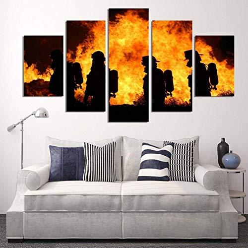 MMLFY 5 aufeinanderfolgende Gemälde Wohnkultur Poster Leinwand 5 Panel Brennen Feuer Und Feuerwehr Wandkunst BilderWohnzimmer HD Gedruckt Modulare Malerei