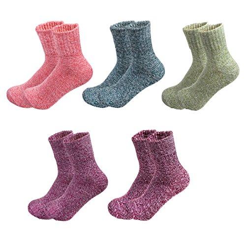 HBF 5 Pares Calcetines Mujer Termicos Lana Calcetines Mujer Invierno Primavera Otoño Calcetines Para Mujer