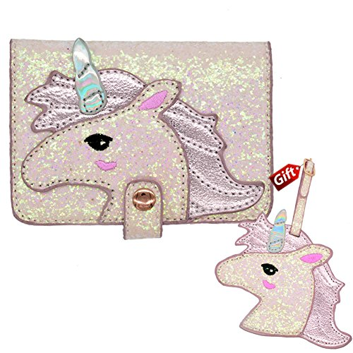 Unicorn passport holder and luggage tag passport cover for kids pink red passport case for girls women RFID Blocking PU Leather Passport Holder Travel Passport Wallet Case
