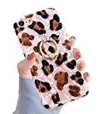 A-Focus Compatible with iPhone SE iPhone 8 iPhone 7 Leopard for Women Girls, Cute Pearl Cheetah Pattern 360 Degree Rotating Ring Stand Kickstand Flexible TPU Case for 7/8 / SE Pearl Leopard