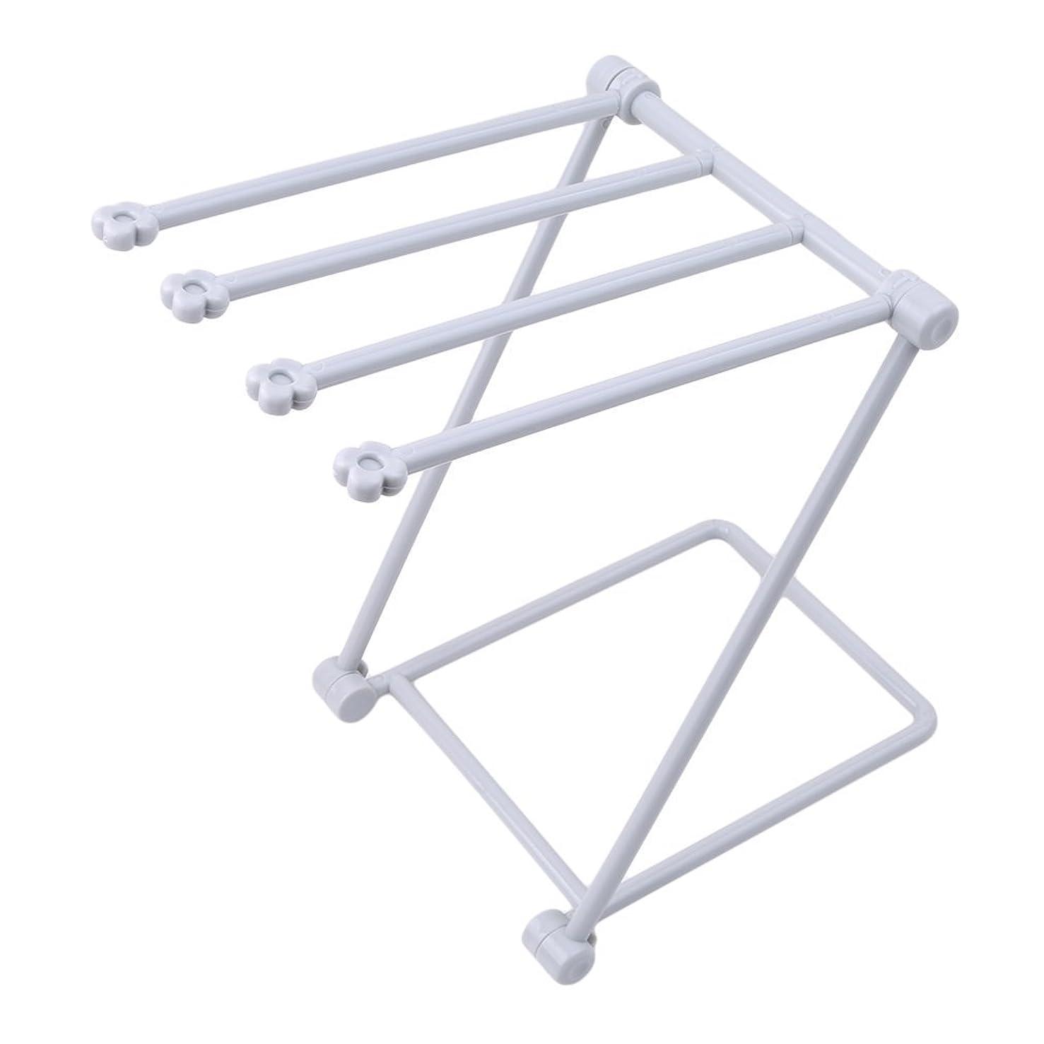 SAVORLIVING Drying Rack Collapsible Kitchen Rags Rack Multi-Purpose Desktop Glass Holder Folding Dishcloth Storage Stand with 4 Hanging Rails for Kitchen Bathroom (Grey)