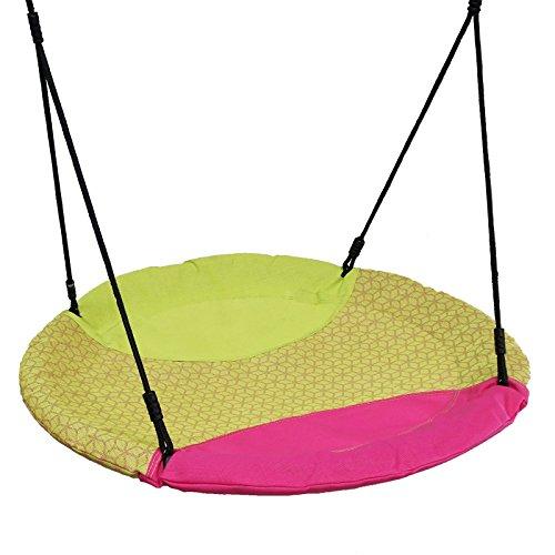 Gartenpirat Nestschaukel 150 kg belastbar Ø 100 cm pink/grün Outdoor