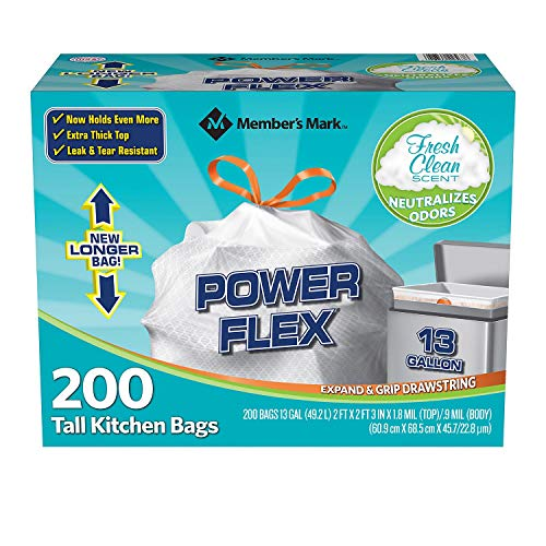 Members Mark 13 gal Power Flex, Leak Protection, Tall Kitchen Simple Fit Drawstring Bags (1-Pack, Fresh Clean Scent)
