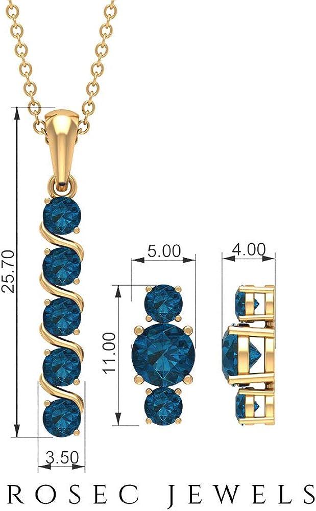 Dangle Jewelry Set, 2 CT London Blue Topaz Jewelry Set, Gold Pendant Set with Earrings