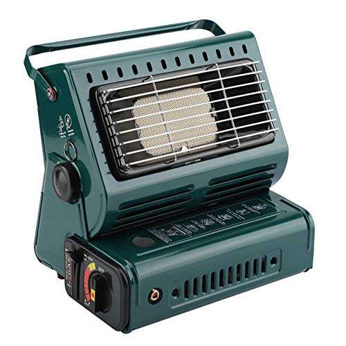 Calentador de butano para exteriores, calentadores portátiles de gas butano con gas líquido + gas butano 2 modos de calefacción, estufas de camping multifuncionales para senderismo, camping(Verde)