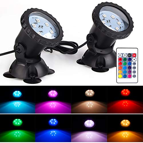 S SMIFUL Pond Light IP68 Submersible Spotlight Remote RGB Color Changing Waterproof Lawn Spot Light for Aquarium Garden Pond Pool Tank Fountain Waterfall (Set of 2)