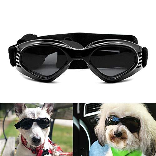 PETLESO Hundebrille, stilvolle Haustier-Sonnenbrille, Anti-Beschlag, wasserdicht, winddicht, Augenschutz, Anti-UV-Schutzbrille für kleine/mittelgroße Hunde - Schwarz
