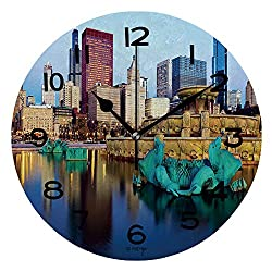 ALUONI 10 Inch Round Face Silent Wall Clock Chicago Skyline Reflected in Buckingham Fountain Unique Contemporary Home and Office Decor IS079908
