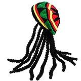 Rasta Hat with Dread lock Like Long Black Hair - Rasta Wig With Cap Costume Accessory