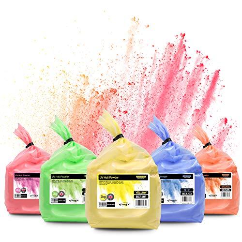 Neon UV Holi-Farbpulver, 5 x 2 kg (insgesamt 10 kg), Festival Wurfpulver, Holi-Pulver (Gelb, Grün, Blau, Rosa, Orange)