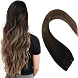 Sunny 24 Inch Sew in Hair Extensiosn Weave Bundles Balayage Natural Black to Dark Brown with Ash Blonde Silky Straight Weave Human Hair 100G/Bundle