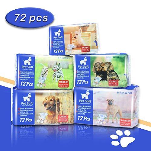 Pet Soft Pet Disposable Female Puppy Dog Diaper,72 Count, XS