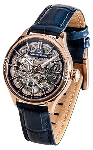 Carl von Zeyten Herren Skeleton Automatik Uhr mit Leder Armband CVZ0057RBL