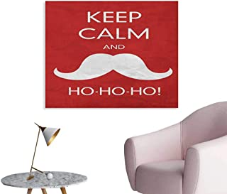 Anzhutwelve Keep Calm Mural Decoration Ho Ho Ho Quote with The Iconic Santa Mustache Joyful Christmas Feliz Navidad Poster Paper Red Coconut W32 xL24
