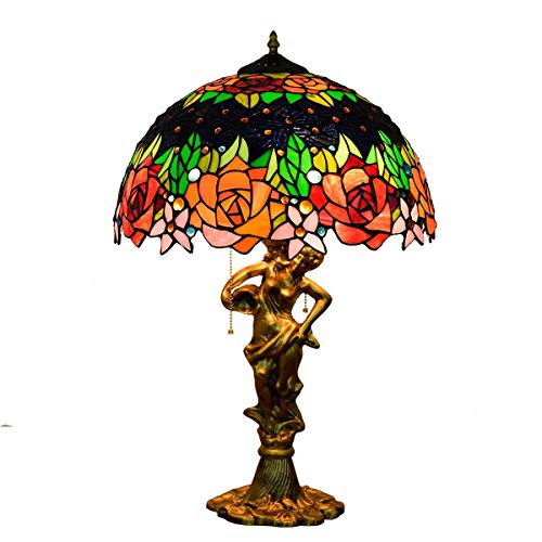 Busirsiz 16' Tiffany American Desk Negro Retro lámpara Color de Rosa del Color del Arte de Cristal del Hotel Bar Salón Comedor Dormitorio de Estilo Tiffany Cubierta lámpara de Mesa