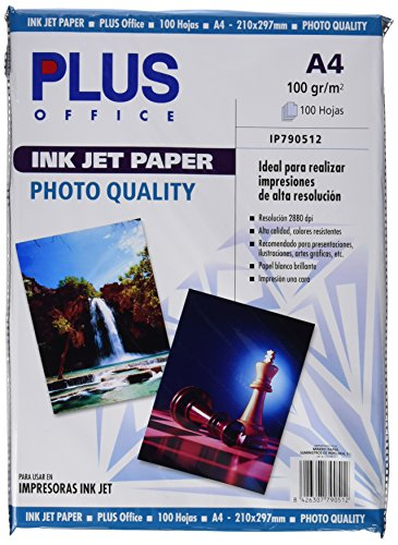 Plus Office InkJet Paper Photo Quality - Papel fotográfico, 2880 dpi, paquete 100 hojas, A4