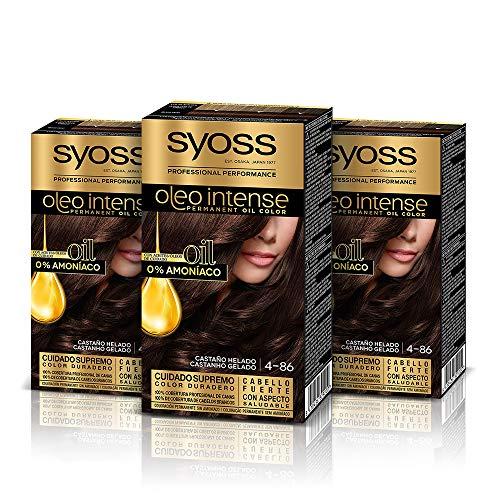 Syoss Oleo Intense - Tinte 4-86 Castaño Helado – Coloración permanente Sin Amoníaco – Cobertura profesional de canas – Resultados de peluquería (Pack De 3)