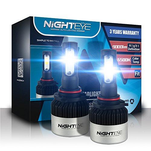 9005 de voiture LED Ampoules de phare, Nighteye 72W 9000LM 6500 K Blanc froid IP68 étanche CSP Puce LED Automotive ampoules tout-en-un kit de conversion - 3 ans de garantie (lot de 2)