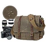 JTYX Bolsos de Hombro de la cámara de Lona Bolsa de fotografía multifunción a Prueba de Agua Bolsa de Mensajero Original Caja de Honda de cámara de Tanque Interno DSLR para Sony/Nikon/Canon