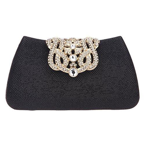 Bonjanvye Bling Crown Glitter Purse for Girls Evening Clutch Bags Black