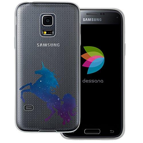 dessana - Custodia protettiva in silicone TPU ultra sottile per Samsung Galaxy S5 mini unicorno universo