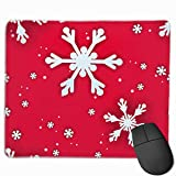 マウスパッド オフィス 最適 赤 雪花 冬 クリスマス 節分 ゲーミング 光学式マウス対応 防水性 耐久性 滑り止め 多機能 標準サイズ25cm×30cm