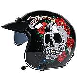 Casco Con Bluetooth De Cara Abierta 3/4 Para Motocicleta De Estilo Retro, Medio Casco Con Visera Desplegable, Casco Vintage De Cara Abierta Para Adultos Aprobado Por DOT/ECE,Black skull,XL