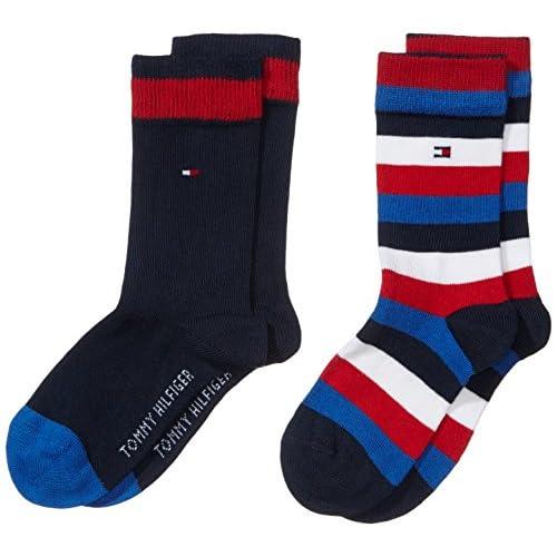 Tommy Hilfiger - Th Kids Basic Stripe Sock 2 Paia, Calze per bambini e ragazzi, blu(blau (midnight blue 563)), taglia produttore: 31-34